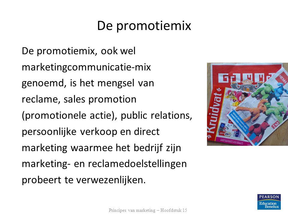 De promotiemix De promotiemix, ook wel marketingcommunicatie-mix genoemd, is het mengsel van reclame, sales promotion (promotionele actie), public relations, persoonlijke verkoop en direct marketing waarmee het bedrijf zijn marketing- en reclamedoelstellingen probeert te verwezenlijken.