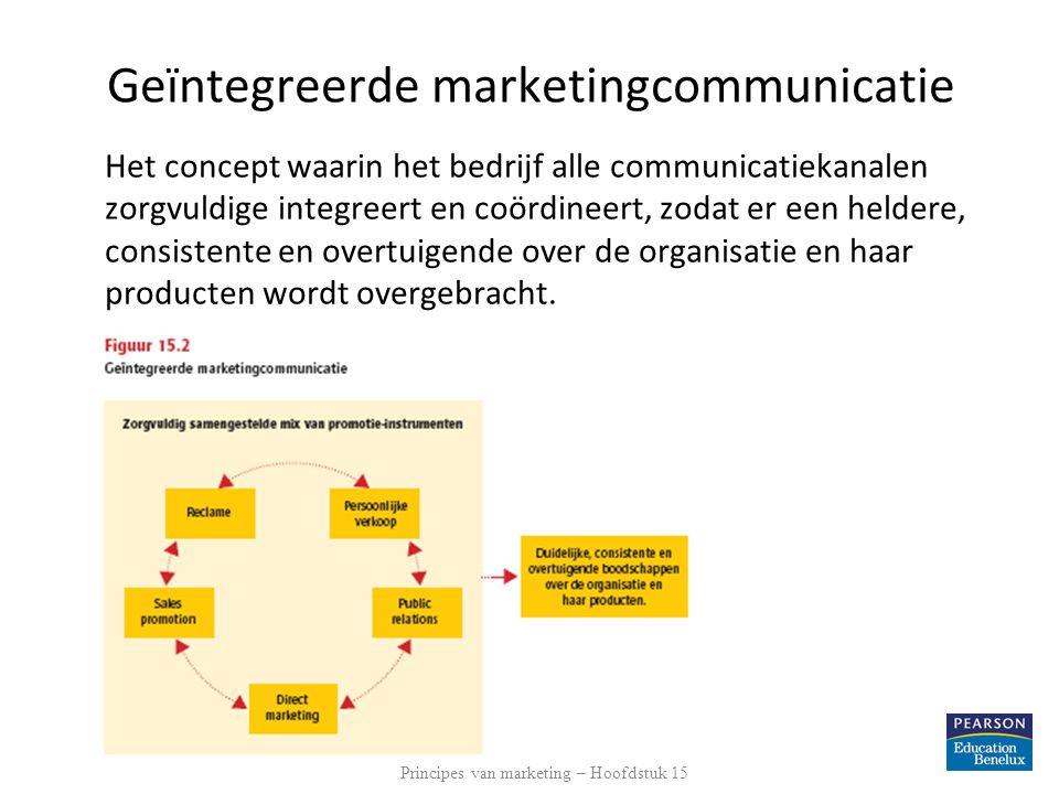 Geïntegreerde marketingcommunicatie Het concept waarin het bedrijf alle communicatiekanalen zorgvuldige integreert en coördineert, zodat er een heldere, consistente en overtuigende over de organisatie en haar producten wordt overgebracht.