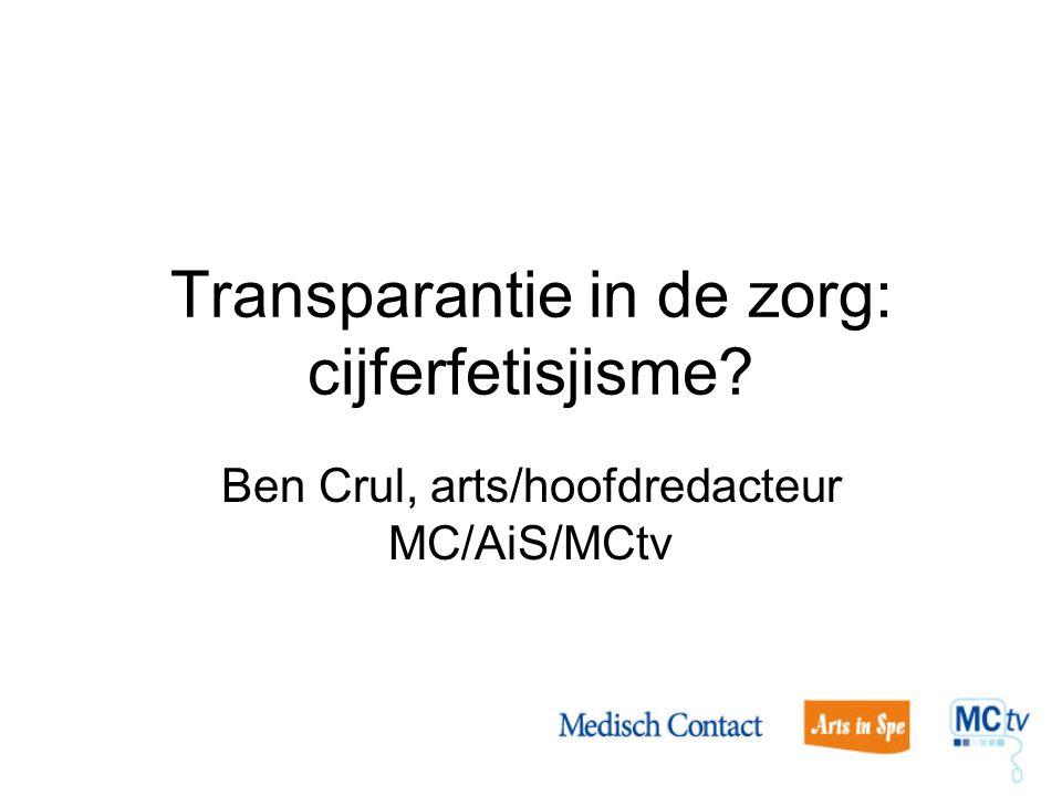 Transparantie in de zorg: cijferfetisjisme? Ben Crul, arts/hoofdredacteur MC/AiS/MCtv