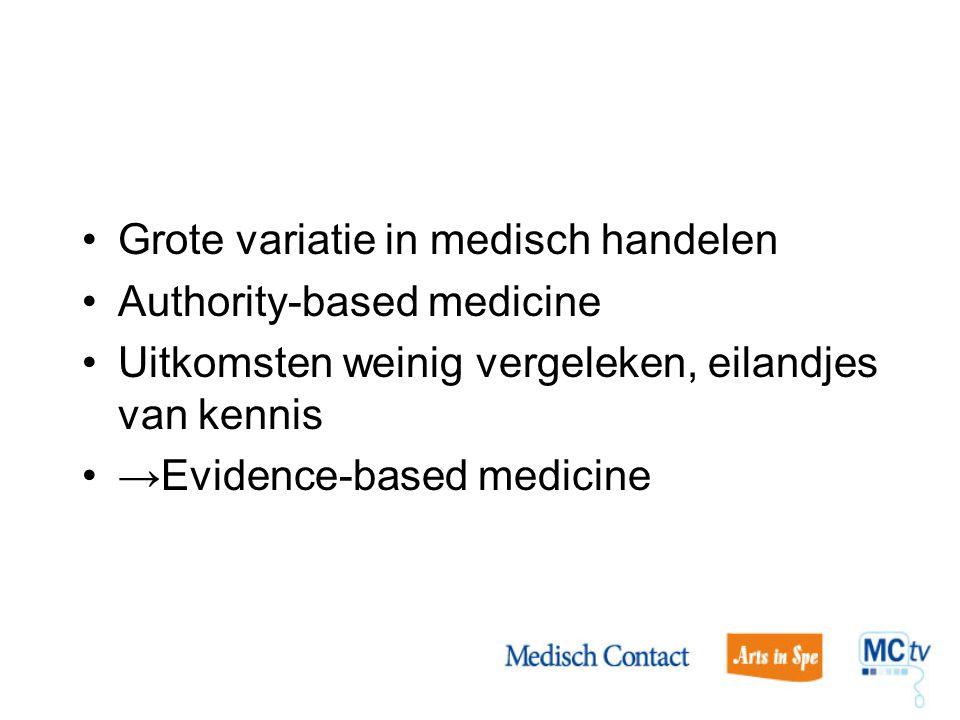 Grote variatie in medisch handelen Authority-based medicine Uitkomsten weinig vergeleken, eilandjes van kennis →Evidence-based medicine
