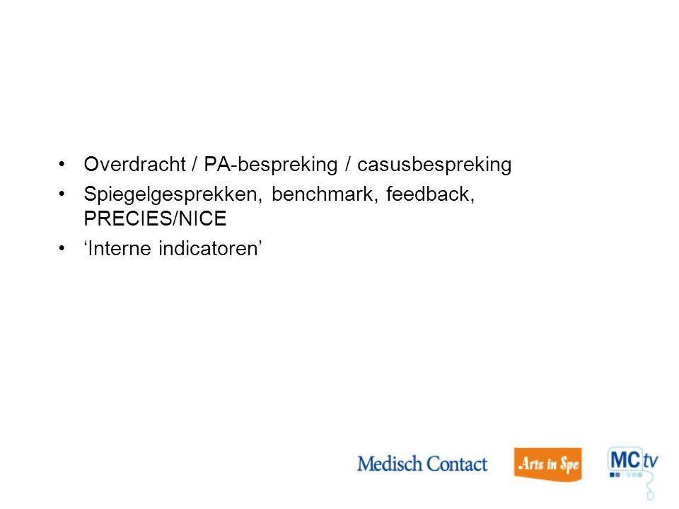 Overdracht / PA-bespreking / casusbespreking Spiegelgesprekken, benchmark, feedback, PRECIES/NICE 'Interne indicatoren'