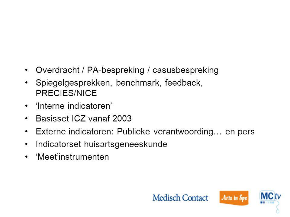 Overdracht / PA-bespreking / casusbespreking Spiegelgesprekken, benchmark, feedback, PRECIES/NICE 'Interne indicatoren' Basisset ICZ vanaf 2003 Extern