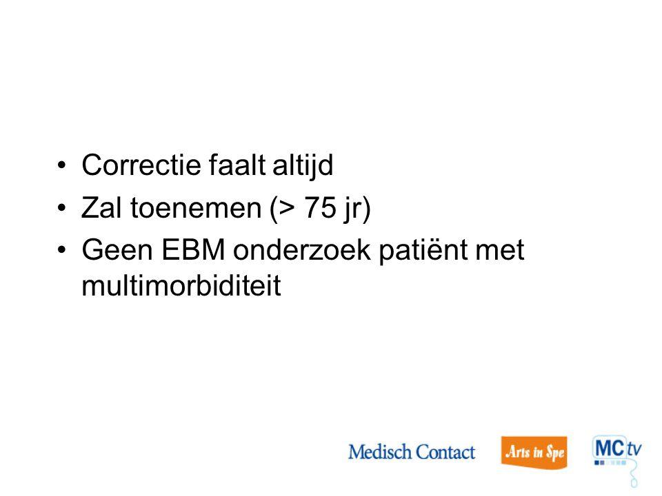 Correctie faalt altijd Zal toenemen (> 75 jr) Geen EBM onderzoek patiënt met multimorbiditeit