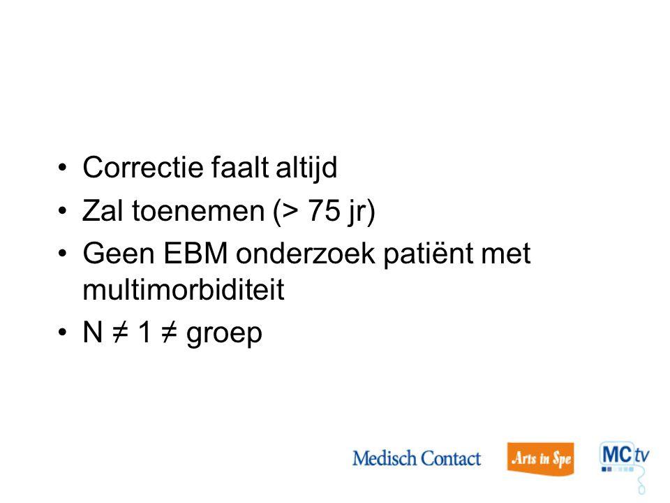 Correctie faalt altijd Zal toenemen (> 75 jr) Geen EBM onderzoek patiënt met multimorbiditeit N ≠ 1 ≠ groep