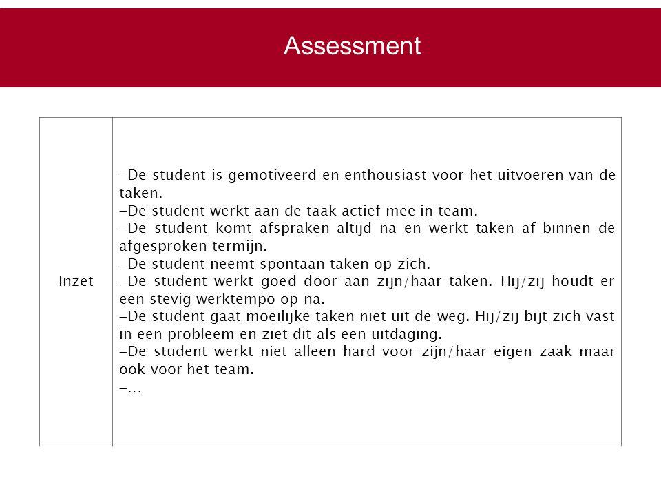 Inzet  De student is gemotiveerd en enthousiast voor het uitvoeren van de taken.  De student werkt aan de taak actief mee in team.  De student komt
