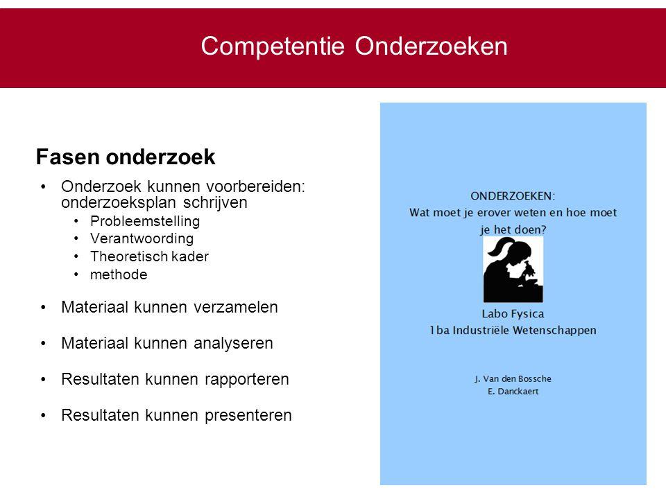 Competentie Onderzoeken Onderzoek kunnen voorbereiden: onderzoeksplan schrijven Probleemstelling Verantwoording Theoretisch kader methode Materiaal ku