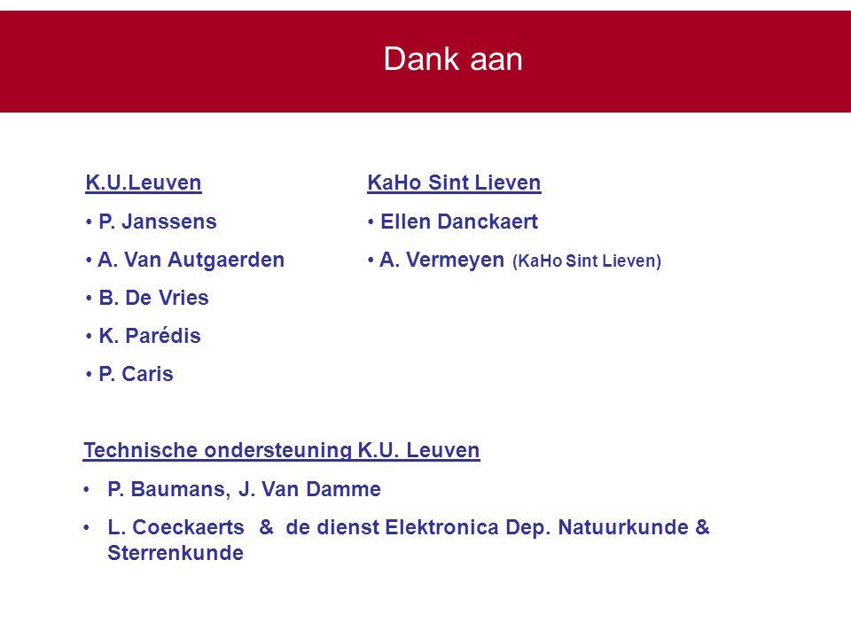 K.U.Leuven P. Janssens A. Van Autgaerden B. De Vries K. Parédis P. Caris KaHo Sint Lieven Ellen Danckaert A. Vermeyen (KaHo Sint Lieven) Technische on