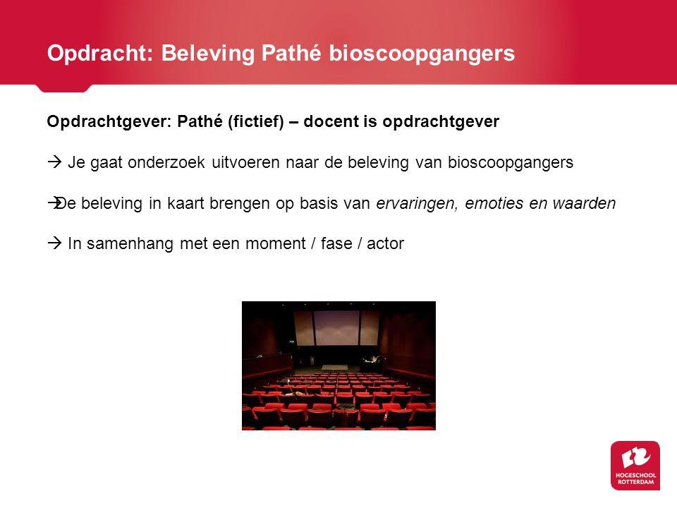 Opdrachtgever: Pathé (fictief) – docent is opdrachtgever  Je gaat onderzoek uitvoeren naar de beleving van bioscoopgangers  De beleving in kaart bre