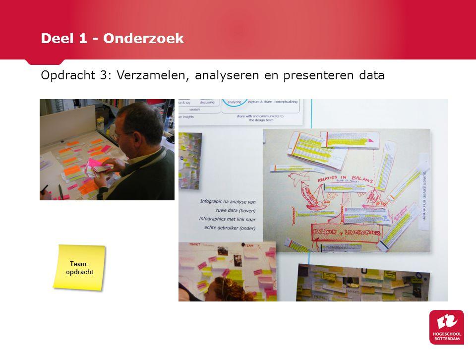 Deel 1 - Onderzoek Opdracht 3: Verzamelen, analyseren en presenteren data Team- opdracht
