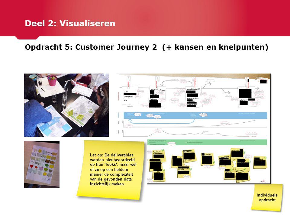 Deel 2: Visualiseren Opdracht 5: Customer Journey 2 (+ kansen en knelpunten) Individuele opdracht Let op: De deliverables worden niet beoordeeld op hu