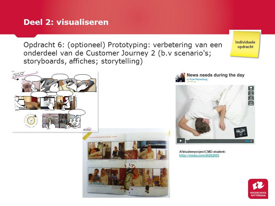 Deel 2: visualiseren Opdracht 6: (optioneel) Prototyping: verbetering van een onderdeel van de Customer Journey 2 (b.v scenario's; storyboards, affich