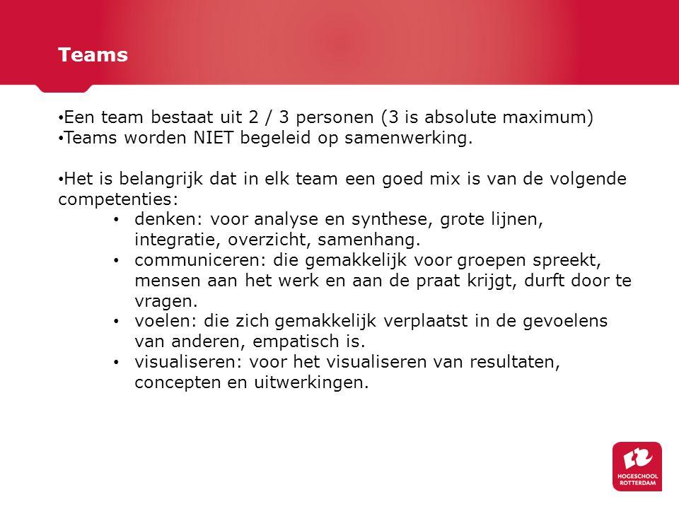 Teams Een team bestaat uit 2 / 3 personen (3 is absolute maximum) Teams worden NIET begeleid op samenwerking. Het is belangrijk dat in elk team een go