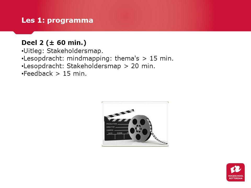 Les 1: programma Deel 2 (± 60 min.) Uitleg: Stakeholdersmap. Lesopdracht: mindmapping: thema's > 15 min. Lesopdracht: Stakeholdersmap > 20 min. Feedba