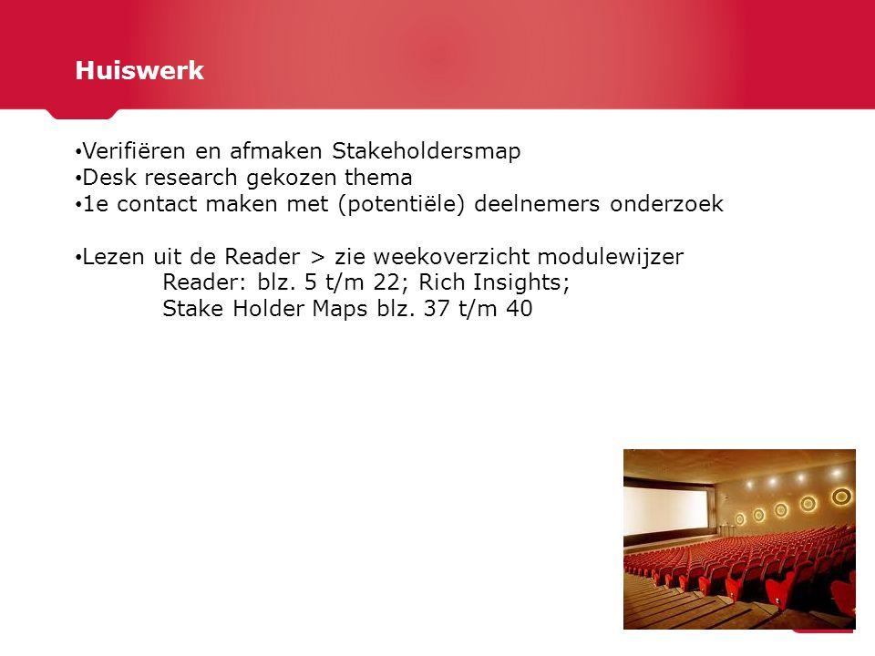 Huiswerk Verifiëren en afmaken Stakeholdersmap Desk research gekozen thema 1e contact maken met (potentiële) deelnemers onderzoek Lezen uit de Reader