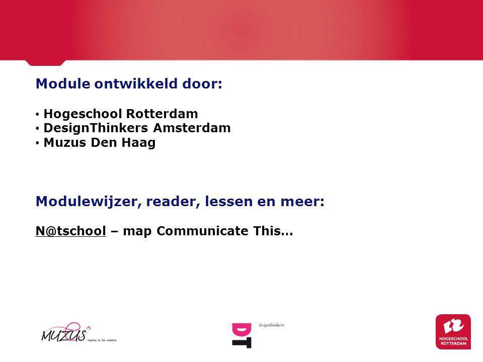 Module ontwikkeld door: Hogeschool Rotterdam DesignThinkers Amsterdam Muzus Den Haag Modulewijzer, reader, lessen en meer: N@tschool – map Communicate