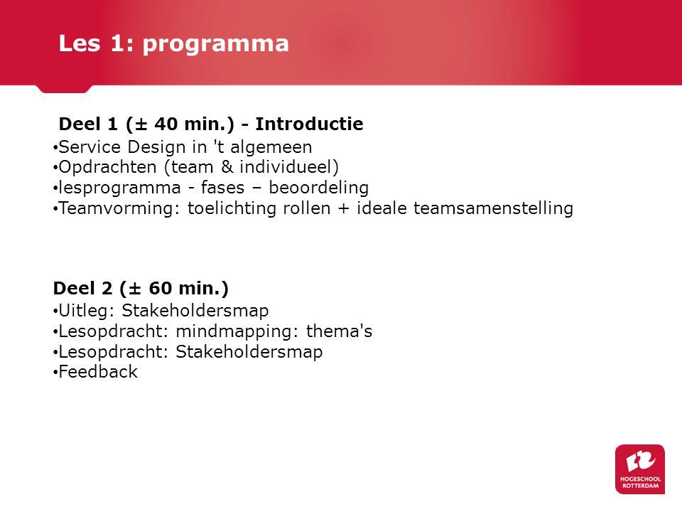 Deel 1 (± 40 min.) - Introductie Service Design in 't algemeen Opdrachten (team & individueel) lesprogramma - fases – beoordeling Teamvorming: toelich