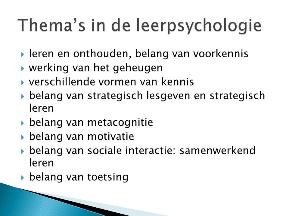  leren en onthouden, belang van voorkennis  werking van het geheugen  verschillende vormen van kennis  belang van strategisch lesgeven en strategi