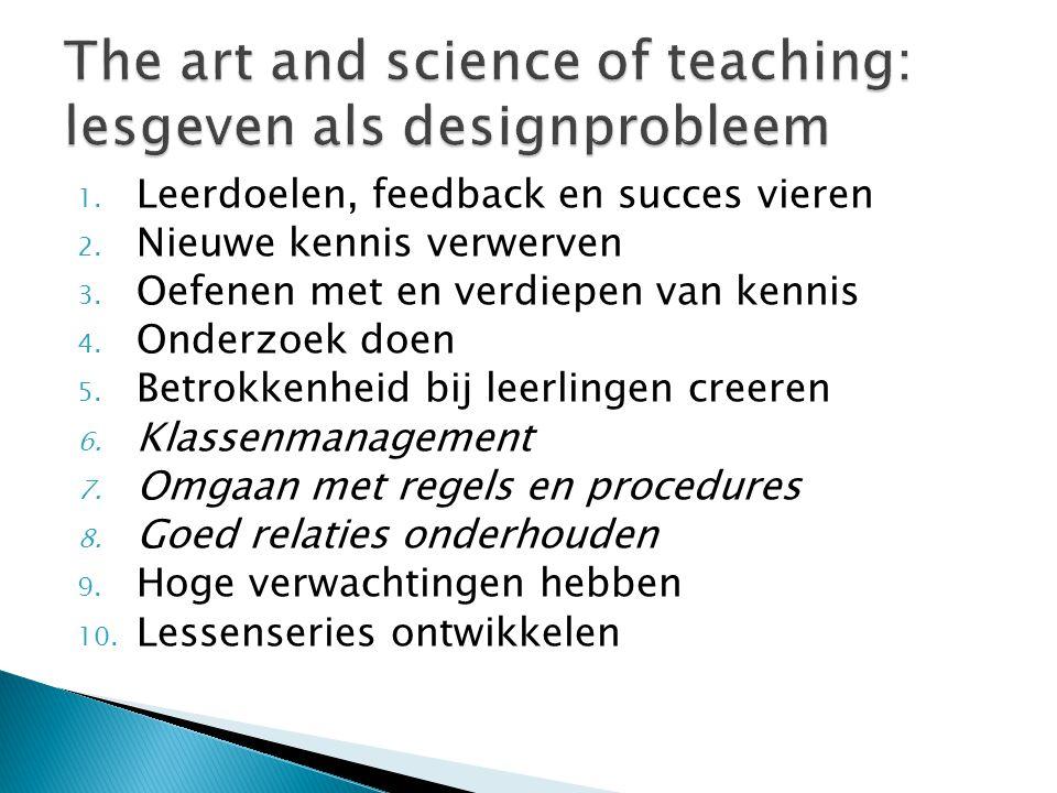 1. Leerdoelen, feedback en succes vieren 2. Nieuwe kennis verwerven 3. Oefenen met en verdiepen van kennis 4. Onderzoek doen 5. Betrokkenheid bij leer