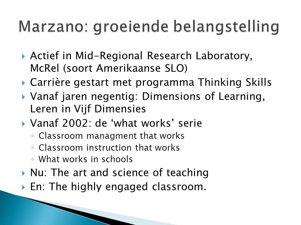  Actief in Mid-Regional Research Laboratory, McRel (soort Amerikaanse SLO)  Carrière gestart met programma Thinking Skills  Vanaf jaren negentig: D
