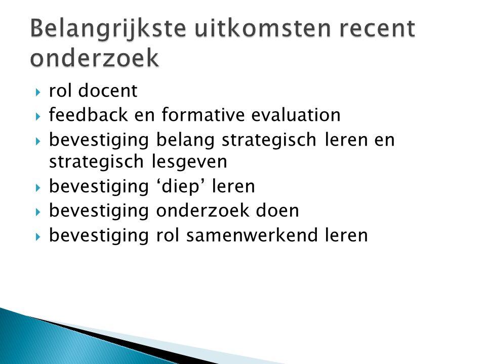  rol docent  feedback en formative evaluation  bevestiging belang strategisch leren en strategisch lesgeven  bevestiging 'diep' leren  bevestigin