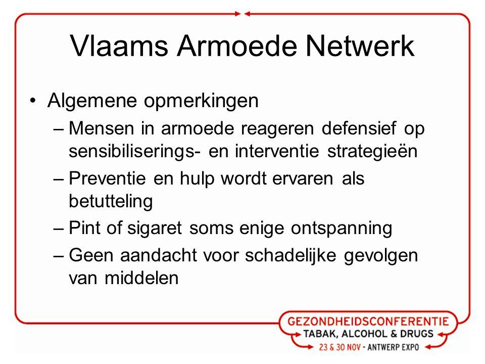 Vlaams Armoede Netwerk Algemene opmerkingen –Mensen in armoede reageren defensief op sensibiliserings- en interventie strategieën –Preventie en hulp w