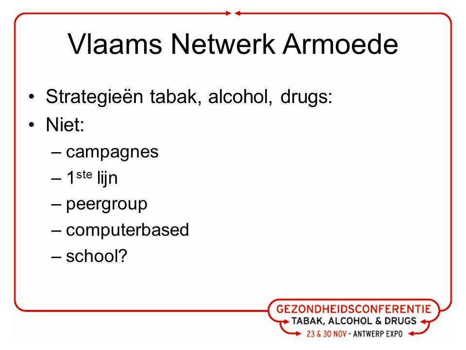 Vlaams Netwerk Armoede Strategieën tabak, alcohol, drugs: Niet: –campagnes –1 ste lijn –peergroup –computerbased –school