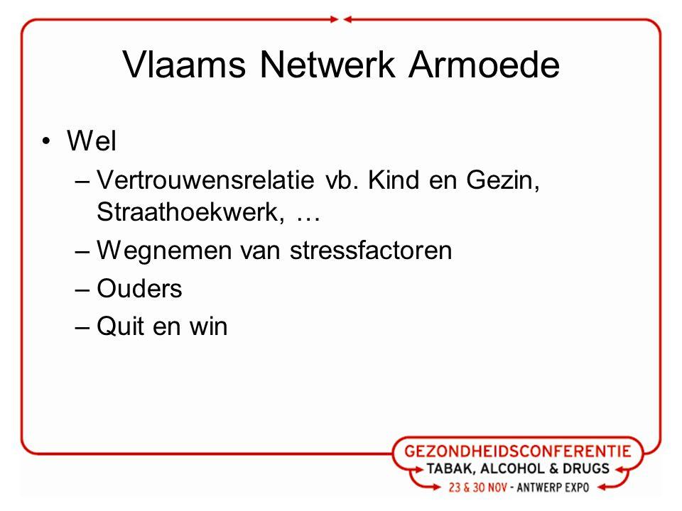 Vlaams Netwerk Armoede Wel –Vertrouwensrelatie vb. Kind en Gezin, Straathoekwerk, … –Wegnemen van stressfactoren –Ouders –Quit en win