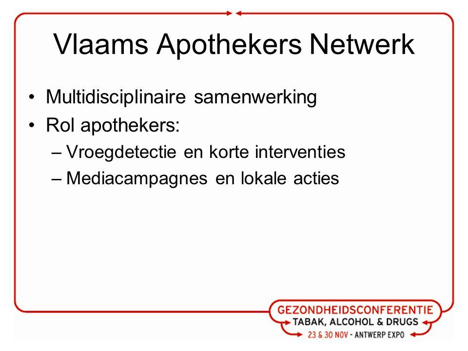 Vlaams Apothekers Netwerk Multidisciplinaire samenwerking Rol apothekers: –Vroegdetectie en korte interventies –Mediacampagnes en lokale acties