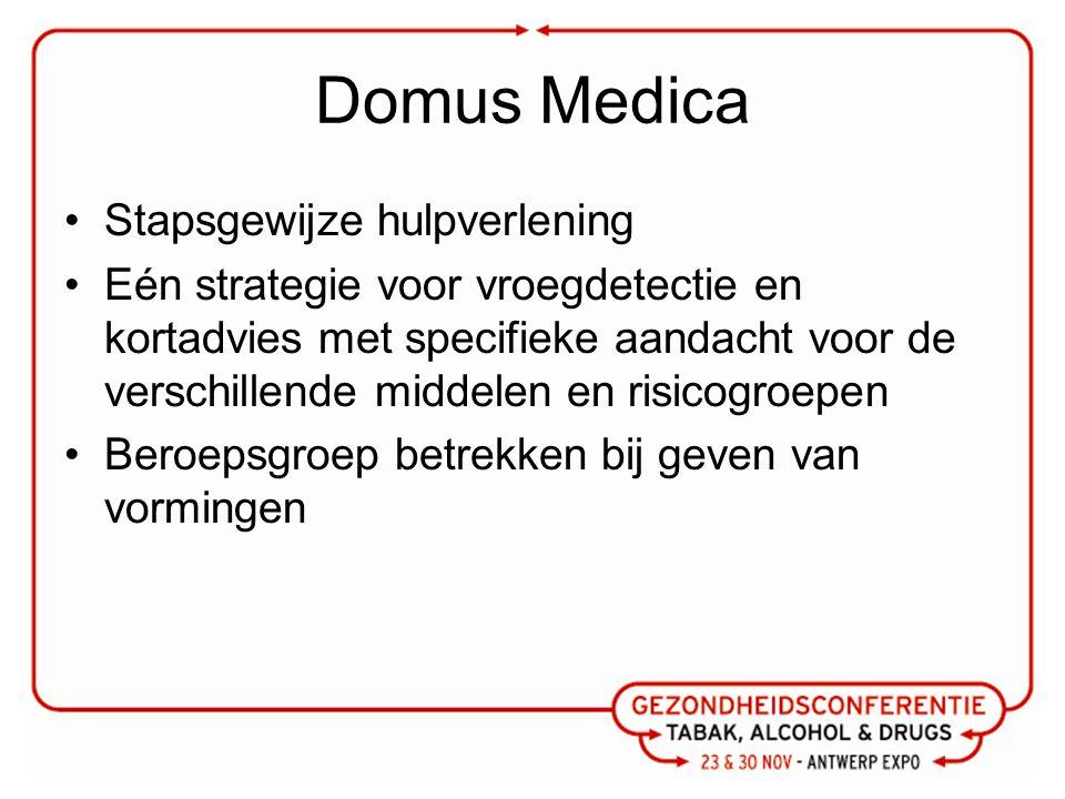 Domus Medica Stapsgewijze hulpverlening Eén strategie voor vroegdetectie en kortadvies met specifieke aandacht voor de verschillende middelen en risicogroepen Beroepsgroep betrekken bij geven van vormingen