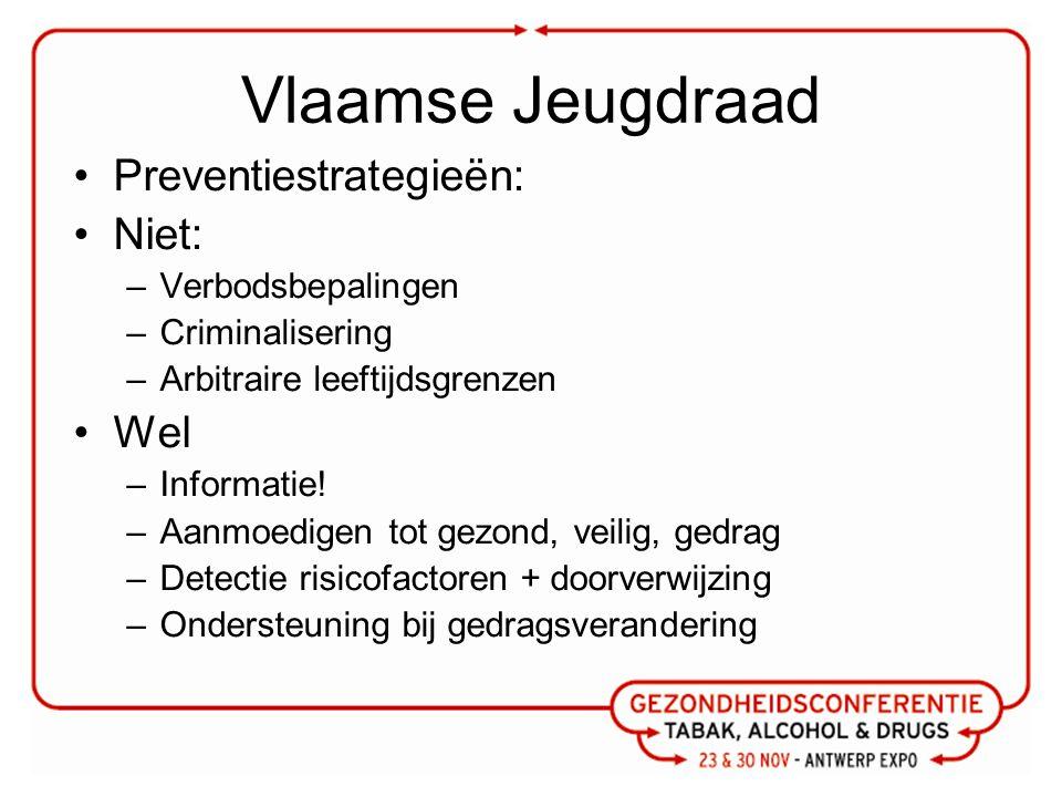 Vlaamse Jeugdraad Preventiestrategieën: Niet: –Verbodsbepalingen –Criminalisering –Arbitraire leeftijdsgrenzen Wel –Informatie.