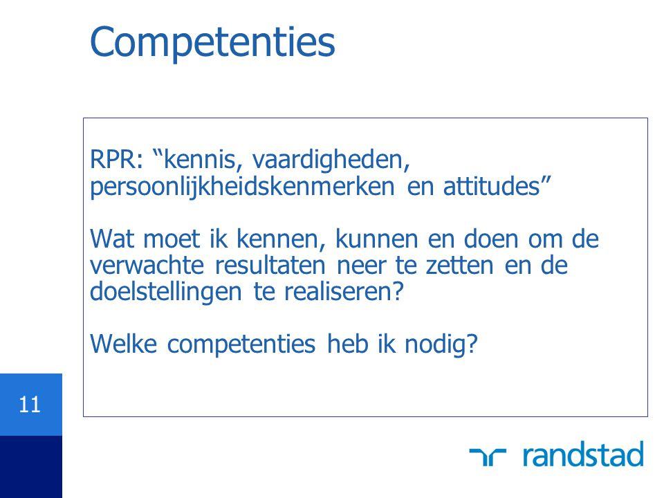 """11 Competenties RPR: """"kennis, vaardigheden, persoonlijkheidskenmerken en attitudes"""" Wat moet ik kennen, kunnen en doen om de verwachte resultaten neer"""