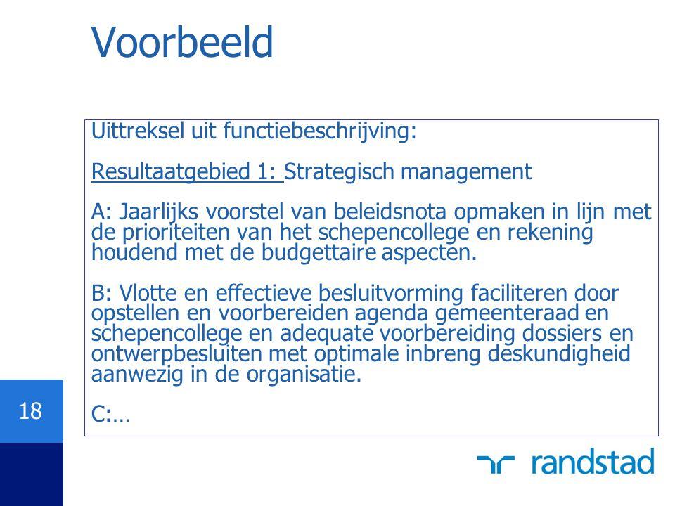 18 Voorbeeld Uittreksel uit functiebeschrijving: Resultaatgebied 1: Strategisch management A: Jaarlijks voorstel van beleidsnota opmaken in lijn met d