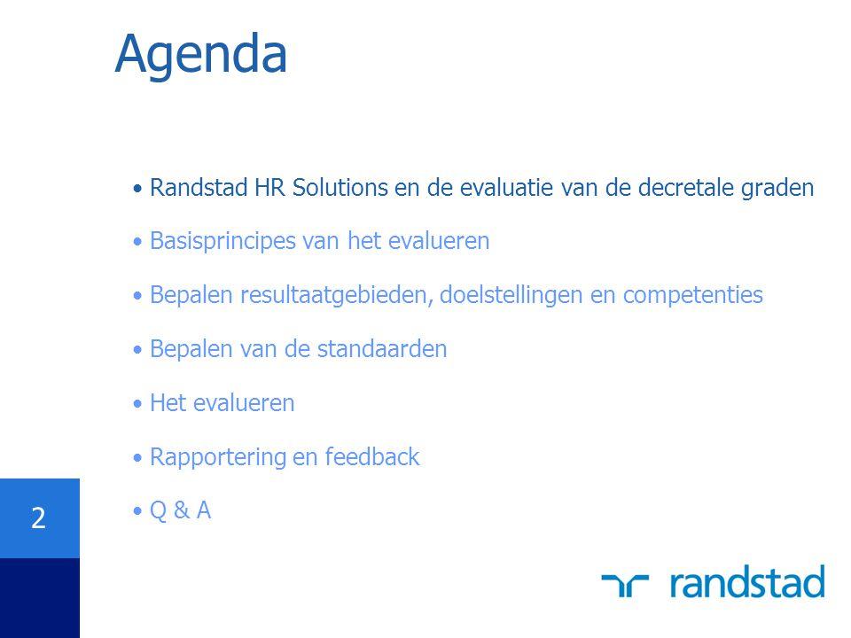 2 Agenda Randstad HR Solutions en de evaluatie van de decretale graden Basisprincipes van het evalueren Bepalen resultaatgebieden, doelstellingen en c