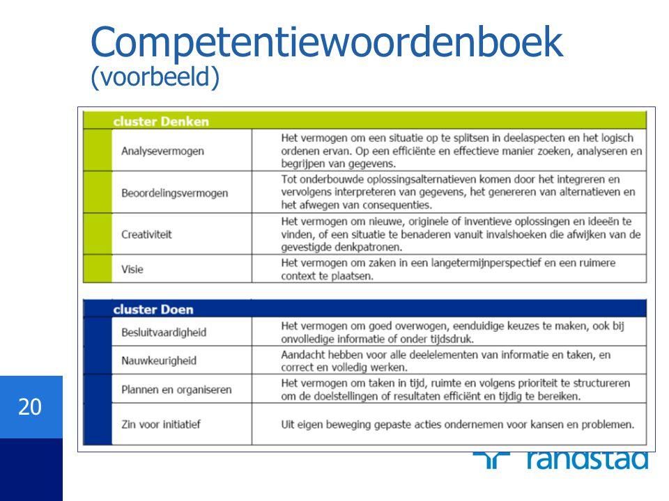 20 Competentiewoordenboek (voorbeeld)