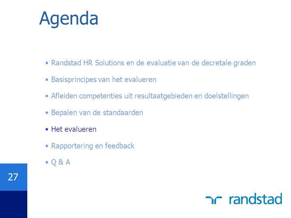 27 Agenda Randstad HR Solutions en de evaluatie van de decretale graden Basisprincipes van het evalueren Afleiden competenties uit resultaatgebieden e