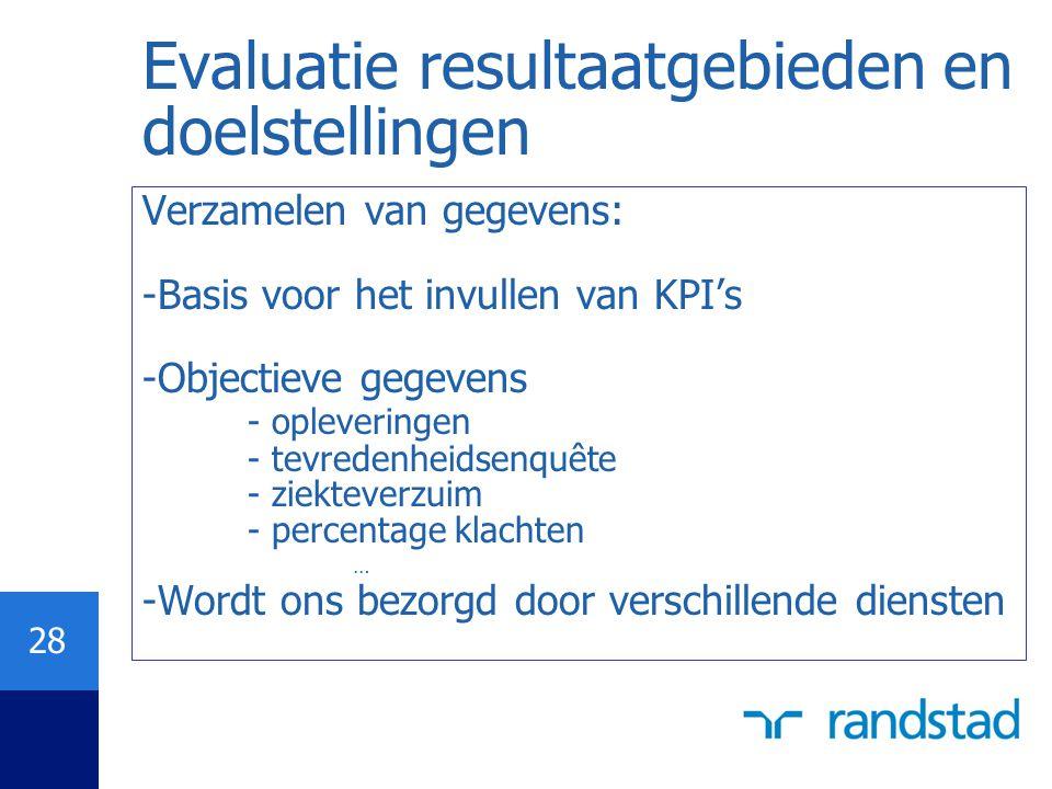 28 Evaluatie resultaatgebieden en doelstellingen Verzamelen van gegevens: -Basis voor het invullen van KPI's -Objectieve gegevens - opleveringen - tev