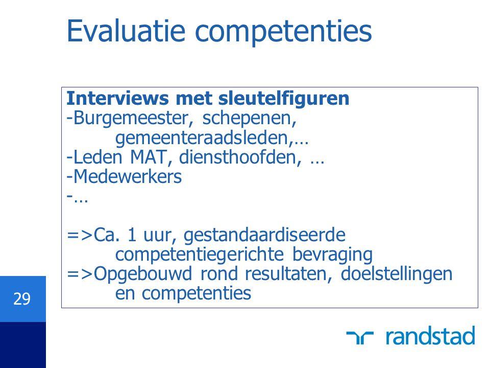 29 Evaluatie competenties Interviews met sleutelfiguren -Burgemeester, schepenen, gemeenteraadsleden,… -Leden MAT, diensthoofden, … -Medewerkers -… =>