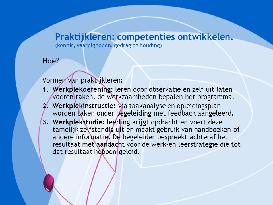 Praktijkleren: competenties ontwikkelen. (kennis, vaardigheden, gedrag en houding) Hoe? Vormen van praktijkleren: 1.Werkplekoefening: leren door obser