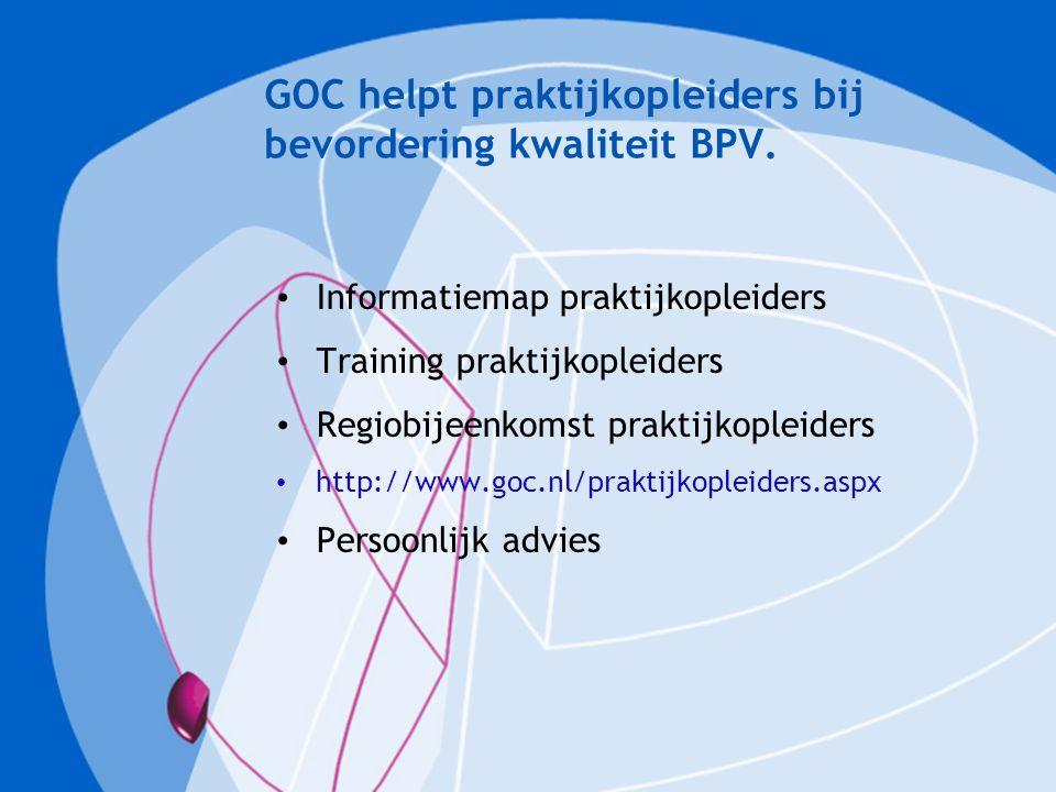 GOC helpt praktijkopleiders bij bevordering kwaliteit BPV. Informatiemap praktijkopleiders Training praktijkopleiders Regiobijeenkomst praktijkopleide