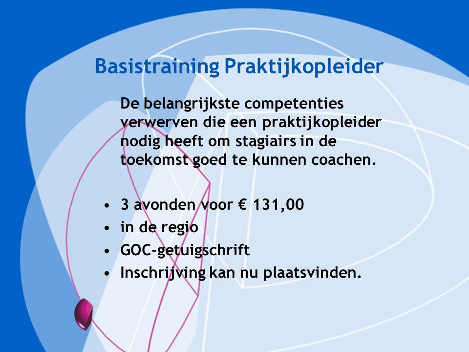 Basistraining Praktijkopleider De belangrijkste competenties verwerven die een praktijkopleider nodig heeft om stagiairs in de toekomst goed te kunnen