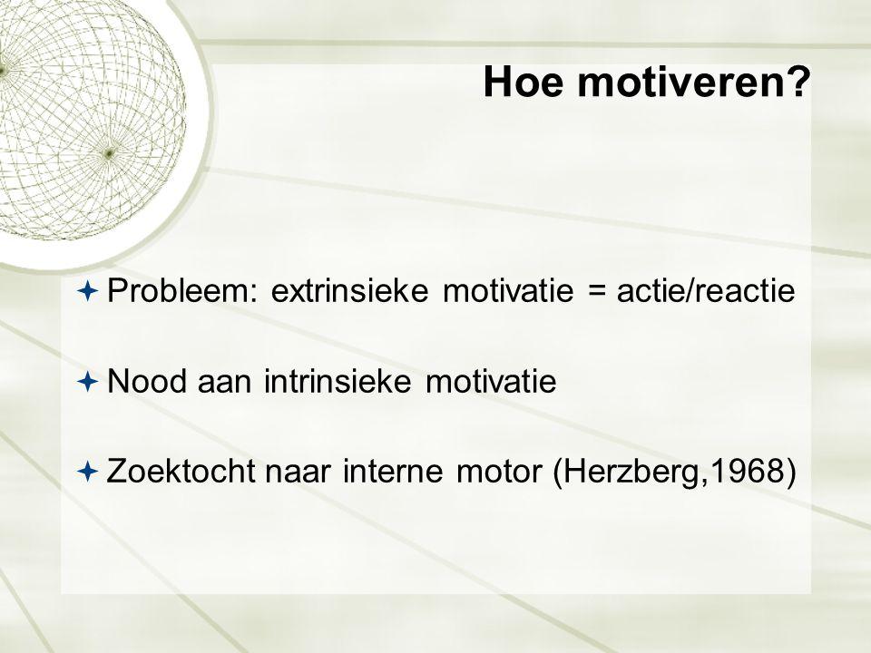 Hoe motiveren?  Probleem: extrinsieke motivatie = actie/reactie  Nood aan intrinsieke motivatie  Zoektocht naar interne motor (Herzberg,1968)