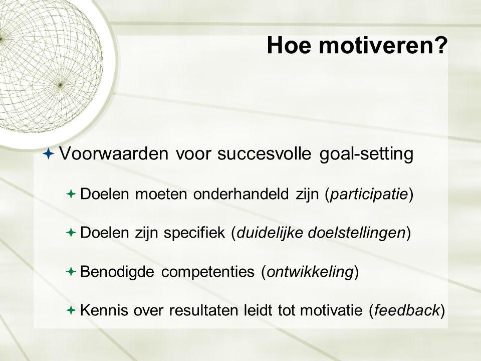 Hoe motiveren?  Voorwaarden voor succesvolle goal-setting  Doelen moeten onderhandeld zijn (participatie)  Doelen zijn specifiek (duidelijke doelst