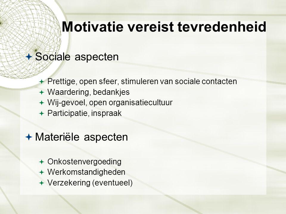 Motivatie vereist tevredenheid  Sociale aspecten  Prettige, open sfeer, stimuleren van sociale contacten  Waardering, bedankjes  Wij-gevoel, open