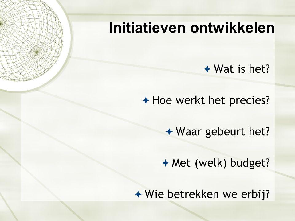 Initiatieven ontwikkelen  Wat is het?  Hoe werkt het precies?  Waar gebeurt het?  Met (welk) budget?  Wie betrekken we erbij?