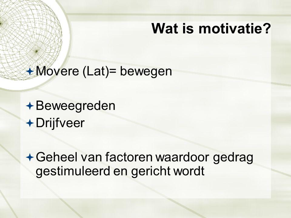 Wat is motivatie?  Movere (Lat)= bewegen  Beweegreden  Drijfveer  Geheel van factoren waardoor gedrag gestimuleerd en gericht wordt