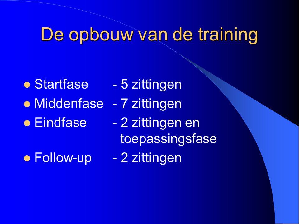 De opbouw van de training Startfase - 5 zittingen Middenfase - 7 zittingen Eindfase- 2 zittingen en toepassingsfase Follow-up- 2 zittingen