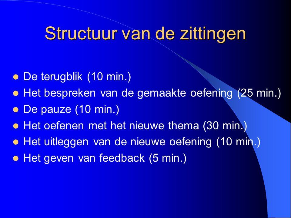 Structuur van de zittingen De terugblik (10 min.) Het bespreken van de gemaakte oefening (25 min.) De pauze (10 min.) Het oefenen met het nieuwe thema