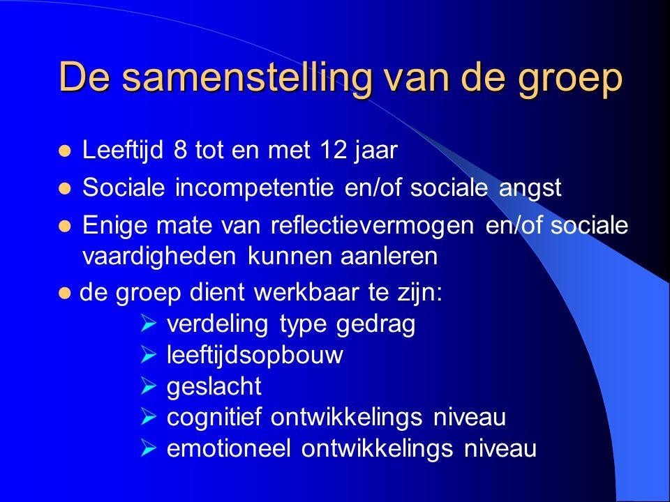 De samenstelling van de groep Leeftijd 8 tot en met 12 jaar Sociale incompetentie en/of sociale angst Enige mate van reflectievermogen en/of sociale v