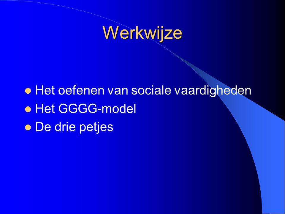 Werkwijze Het oefenen van sociale vaardigheden Het GGGG-model De drie petjes