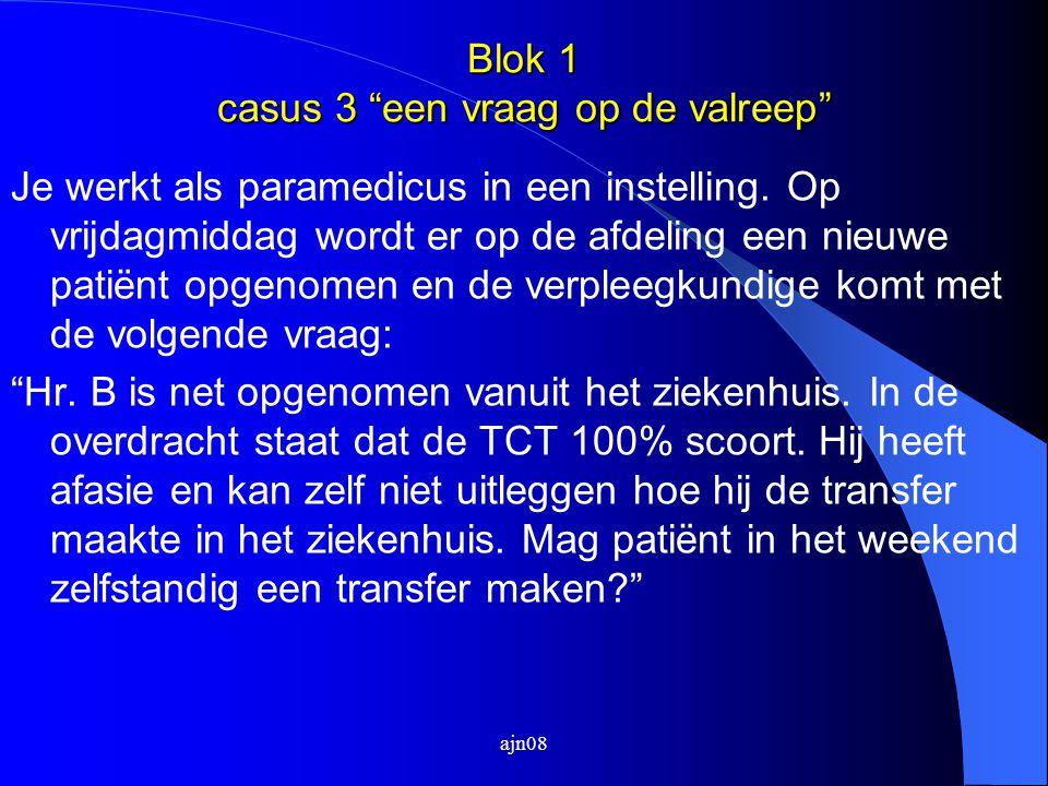 """Blok 1 casus 3 """"een vraag op de valreep"""" Je werkt als paramedicus in een instelling. Op vrijdagmiddag wordt er op de afdeling een nieuwe patiënt opgen"""